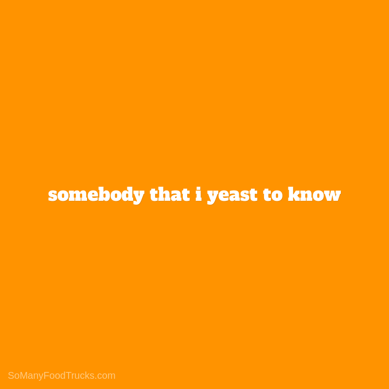 Somebody That I Yeast To Know